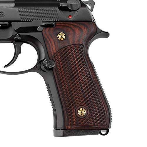 Cool Hand Wood Grips for Beretta 92/96 Full Size, 92 fs, m9, 92a1, 92 INOX, Screws Included, Checkered Texture (Brown)