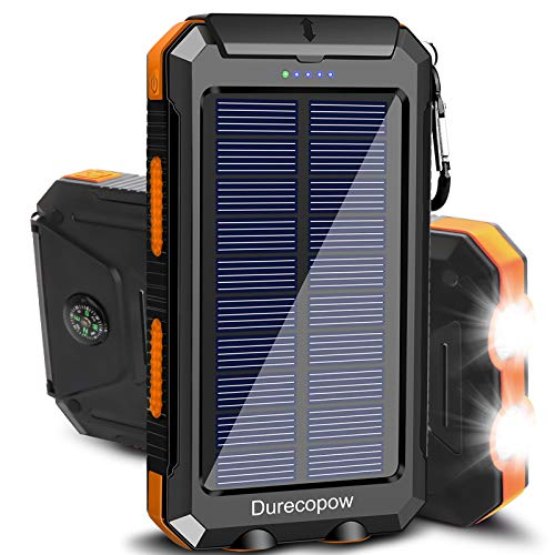 Solar Charger, Durecopow 20000mAh Portable Outdoor Waterproof Solar Power Bank, Camping External Backup Battery Pack Dual 5V USB Ports Output, 2 Led Light Flashlight with Compass (Orange)